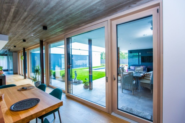 Wooden windows family house